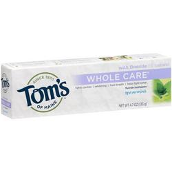 TOOTHPASTE WHOLE CARE W/FLUORIDE SPEARMINT  4.7 OZ