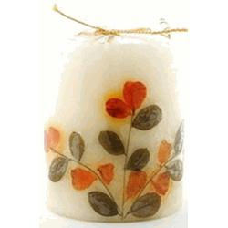 FLOWER CANDLE SANDALWOOD PILLAR  1 UNIT